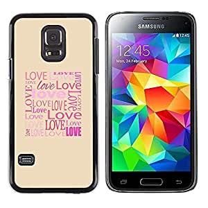 LECELL -- Funda protectora / Cubierta / Piel For Samsung Galaxy S5 Mini, SM-G800, NOT S5 REGULAR! -- Love Typography Calligraphy Message --