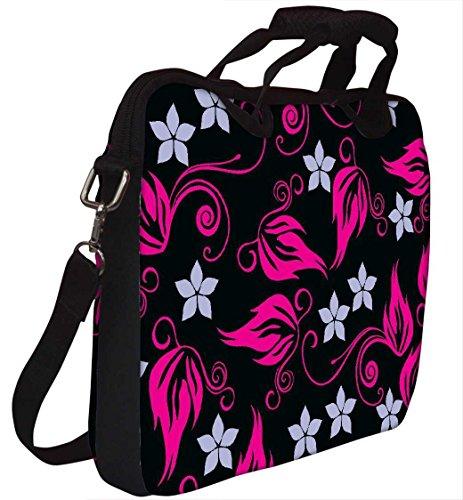 Snoogg grau Muster Pink Laptop Netbook Computer Tablet PC Schulter Case mit Sleeve Tasche Halter für Apple iPad/HP TouchPad Mini 210/Acer Aspire One und die meisten 24,6cm 25,4cm 25,7cm 25,9cm Zol