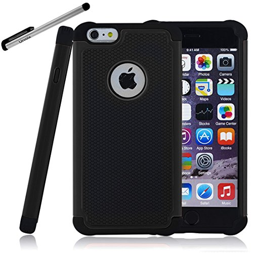Case for iPhone 6 - Urvoix(TM) Heavy Duty Shock Absorbing High Impact Dual Layer Cover fit Apple iPhone 6 (4.7'') Black
