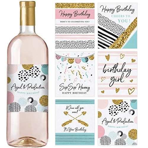 Birthday Wine Bottle Labels | Birthday Gift For Her | Birthday Party Decorations and Supplies | Set of 6