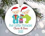Enidgunter Personalized Twin Baby Ornament Babys First Christmas Ornament Twin Boy Girl Newbn Gift Our Little Miracles