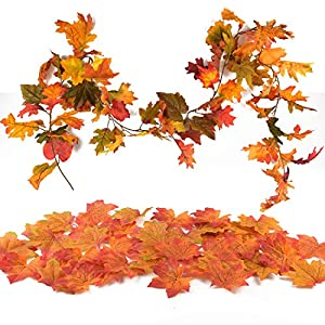 TUPARKA Artificial Maple Leaf Garland with 200 PCS Maple Leaves Autumn Fall Hanging Plant Home Garden Table Wall Decoration Christmas Decorations Wedding Party Décor 63