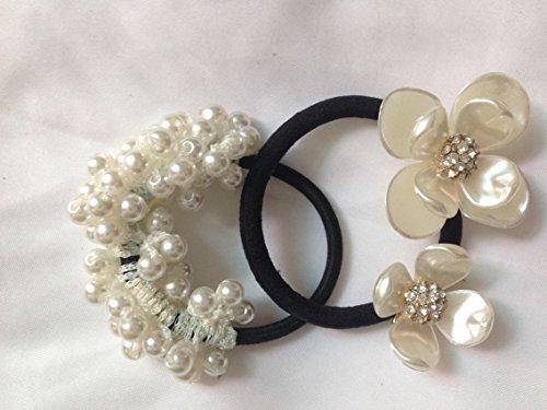 Cuhair(tm)2015 Girl Women Gold Pearl and Flower Hair Accessories Elastic Ties Plastic Hair Rope Fashion Hair Headband Ponytail Holders Hair Tie Assorted Hair Accessories