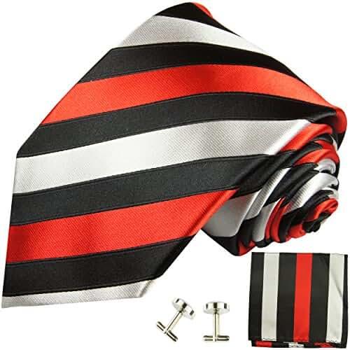 Paul Malone Necktie, Pocket Square and Cufflinks 100% Silk Black Red Silver