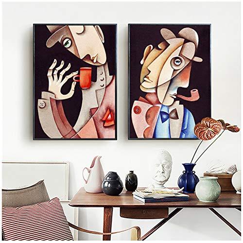 W15Y8 Picasso PinturaDe FigurasAbstractas Carteles E Impresiones Imagenes Artisticas De Pared Decorativas Para LaDecoracion Del Hogar De LaSala De Estar-50X70Cmx2 Piezas Sin Marco