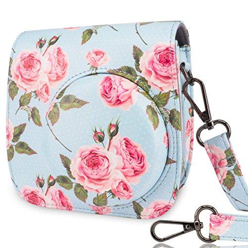 Camera Rose (Wolven Protective Case Bag for Fujifilm Instax Mini 9,Mini 8,Mini 8+ Instant Camera, Blue Rose)