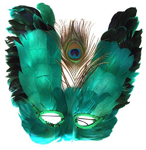 Venetian Feather Mask Emerald Green Butterfly Mardi Gras Halloween Prom - Green Feather Mask
