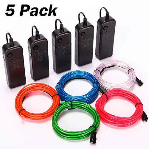WAPIKE EL Wire Kit 10ft,Portable Neon Lights for Parties-Five Colors to Choose from(Red, Green, Pink, Blue, White)