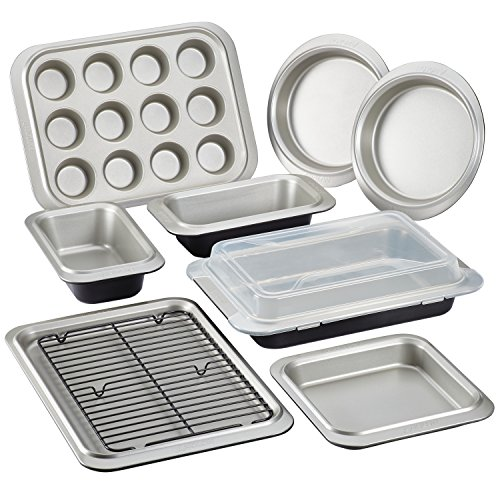 Anolon Allure Bakeware Steel Nonstick Bakeware Set, Onyx/Pewter, 10-Piece