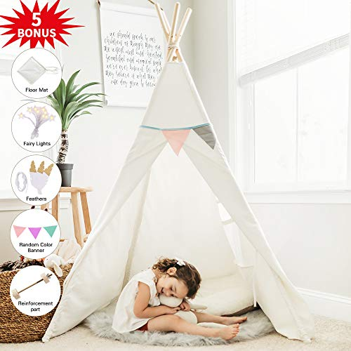 HAN-MM Kids Teepee Tent for Kids with Ferry Lights+Floor Mat+Feathers+Random