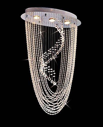 Saint Mossi Crystal Rain Drop Chandelier Modern & Contemporary Ceiling Pendant Light 3 GU10 Bulbs Required H34″ X W14″X L21″