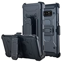 Galaxy Note 8 Case, Lontect Full-body Rugged Holster Case [Kickstand] Heavy Duty Dual Layer Combo Cover case with Locking Belt Swivel Clip for Samsung Galaxy Note 8 - Black