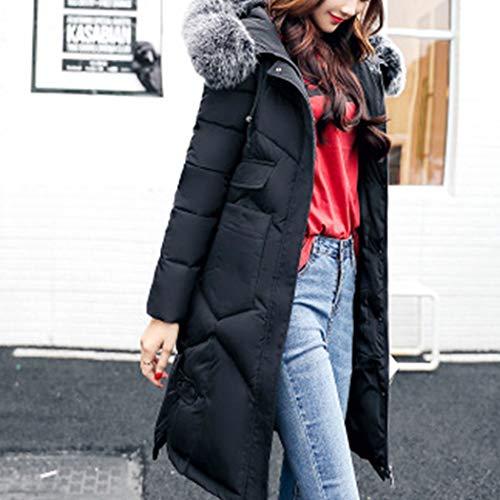 de Chaude avec Manteau Hiver Coton Doudoune Grande Femme Capuche HANMAX Mi Longue Noir Taille Fourrure xw1zRcqSP