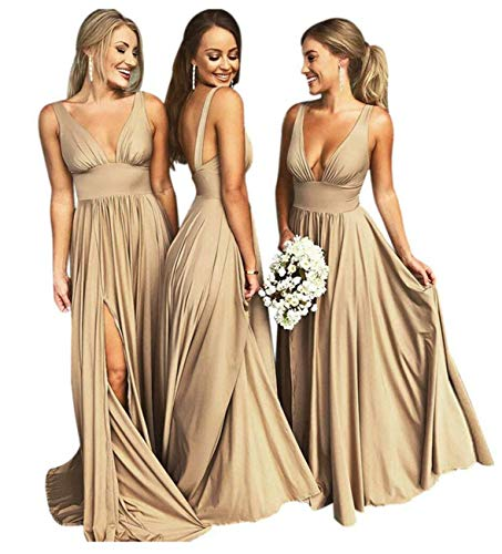 Bridesmaid Dress Long V Neck Backless Split Prom Dress Evening Gowns for Women 2019 Gold Size 6