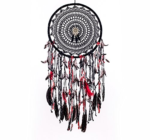 Caught Dreams Boho Dream Catcher ~ Extra Large Handmade Traditional Shape with Black Cotton Crochet and Red Wool Elements!