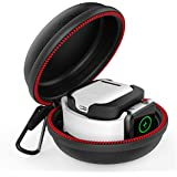 Greatfine for Apple Watch Charger Airpods Charging Case, iWatch Charger Storage Bag Hard Protective Travel Case with Keychain for Apple Watch Series 1 2 3 38mm 42mm