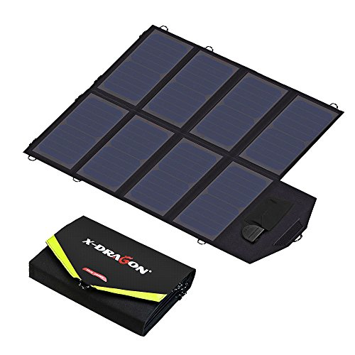 Solar Charger, X-DRAGON 40W SunPower Solar Panel Charger (5V USB with SolarIQ + 18V DC) Water Resistant Laptop Charger for Phone, NoteBook, Tablet, Apple, iPhone, iPod, Samsung, Android Smartphones by X-DRAGON