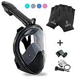 Full Face Snorkel Mask Set, Easy Breath, Anti Fog, Anti Leak Snorkeling Goggles with Removable Cam Mount for Underwater Camera, Panoramic 180° Snorkel Mask & Bonus Swim Gloves, Grey L/XL