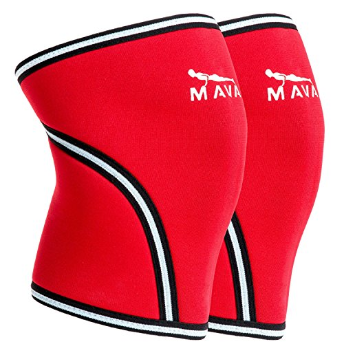 Mava Knee Sleeves Recommended for Powerlifting, Cross Training, Gym Workouts, Weight Lifting & Fitness Activity – Support Without Stiffness - Built to Last – Pair (Armor Athletic Supporter Under)