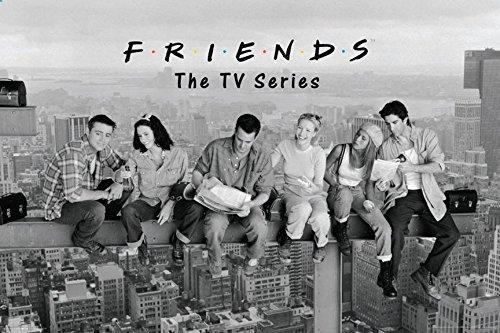 (Buyartforless Friends TV Show On a Beam Over New York 36x24 Art Print Poster Rachel Joey Phoebe Monica Chandler Ross)