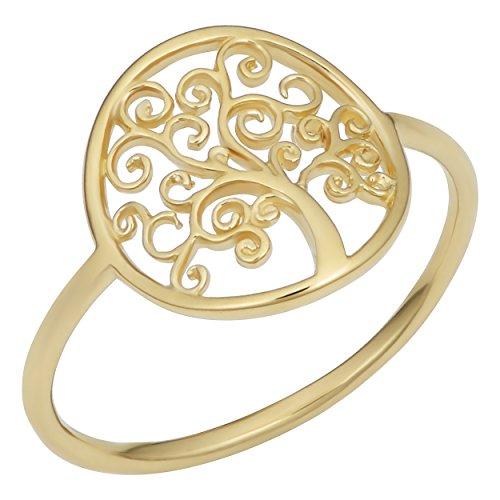 Kooljewelry 14k Yellow Gold Tree of Life Ring (size 7) ()