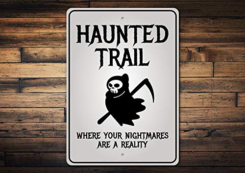 Wini2342ckey Haunted Trail Sign Halloween Trail Ride Haunted Trail Halloween Sign Spooky Decor Metal Sign Quality Metal]()