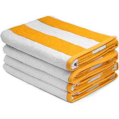 Large Beach Towel, Pool Towel, in Cabana Stripe - (Yellow, 4 pack, 30x60 inches) - Cotton - by Utopia Towel
