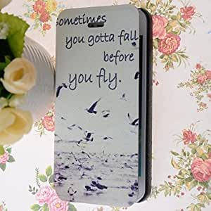 DUR Special Grains Seagull Pattern PU Full Body Case with Card Slot for iPhone 5/5S