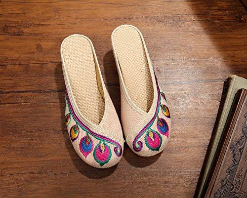 DESY Gestickte Schuhe, Sehnensohle, ethnischer Stil, weiblicher Flip Flop, Mode, bequem, erhöhte Sandalen Beige