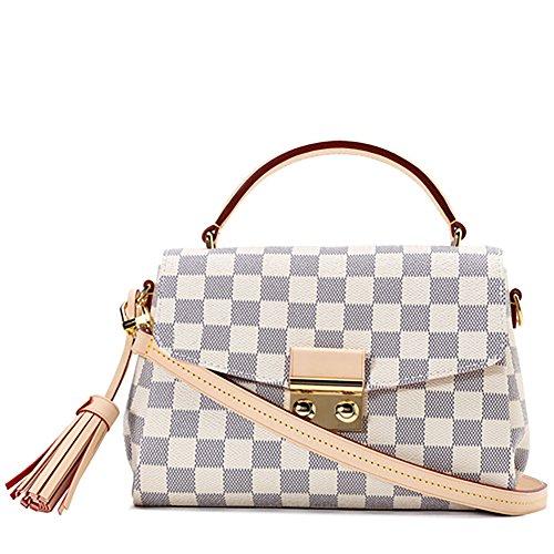 Calfskin Shoulder Bag - Bilibing Premium Quality Calfskin Leather Trim Canvas Material Hand Shoulder Bag