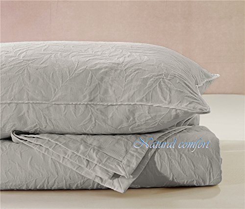 Natural Comfort Matelasse Blanket Coverlet, Foliage Pattern, Queen, Light ()