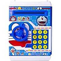 APX Toys Battery Operated Mini ATM Safe Kids Piggy Saving ATM Bank with Electronic Lock Coin Bank Cash Deposit Cartoon Doremon for Kids
