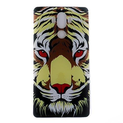 Funda Huawei Mate 9,XiaoXiMi Carcasa de Silicona TPU Suave y Esmerilada Funda Ligero Delgado Carcasa Anti Choque Durable Caja de Diseño Creativo - Unicornio Tigre