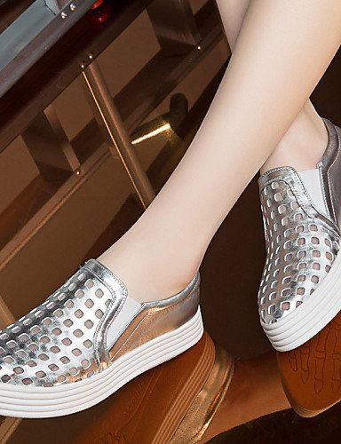 Casual Silver Creepers Sportivo Comoda lavoro Sintetico e Mocassini Nero Ufficio Piatto Argento Donna Scarpe Formale ShangYi xZqp10wq