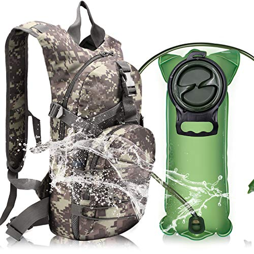 YONLE Tactical Hydration Pack Backpack Water Backpack with 2.5L Bladder for Hiking Biking Running Walking and Climbing(ACU Green)