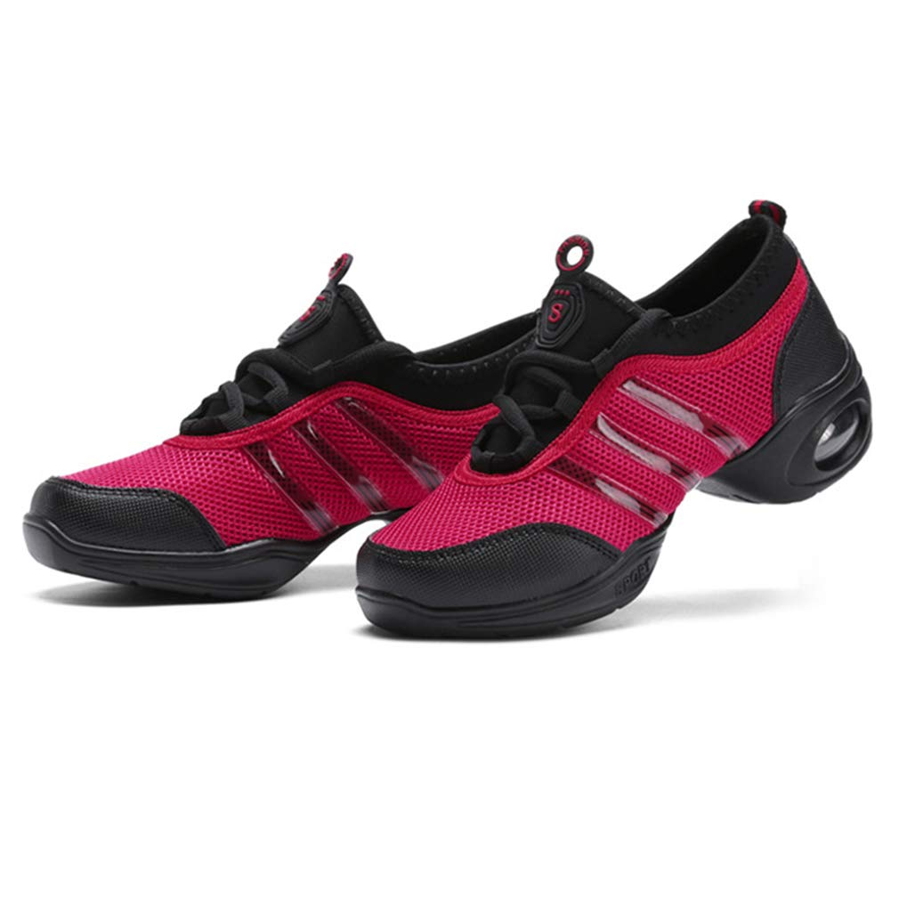 Dance Trainers Comfortable Jazz Sneakers for Women Ladies Soft Mesh Ballroom Split Sole Dance Practice Sneakers Breathable Lace-Up Shoes Lightweight Walking Jogging Sports Gym Shoes