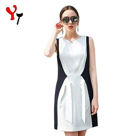 Falda larga para mujer Verano sin mangas Azul y blanco Falda larga ...