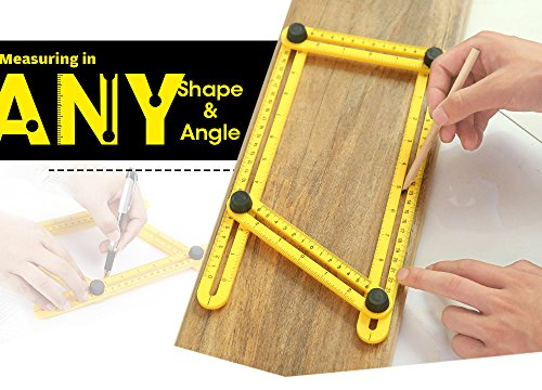 AUTOLOVER Angle Measurement Tool,Measuring Template Tool Four-sided Ruler Mechanism Slide For Handyman, Craftsman, Builders and DIY-ers(yellow)