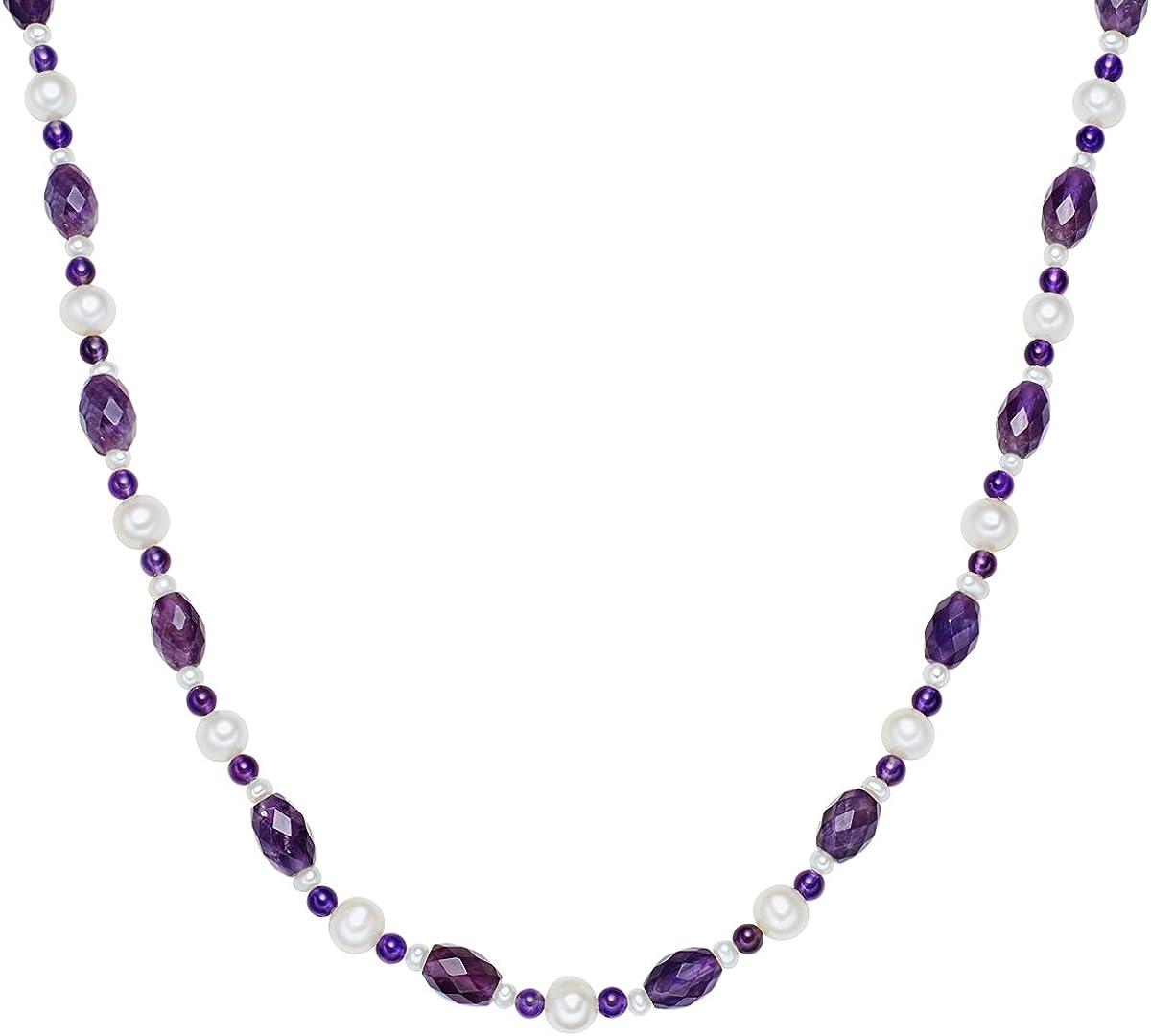 Valero Pearls - Collar de piedras preciosas / Collar de perlas embellecido con Perlas de agua dulce - Hilo de seda - 925 Plata esterlina - Pearl Jewellery, Cadena de Hilo de seda - 456020