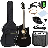 Best Choice Products 41in Full Size Acoustic Electric Cutaway Guitar Set w/ 10-Watt Amp, Capo, E-Tuner, Case - Black