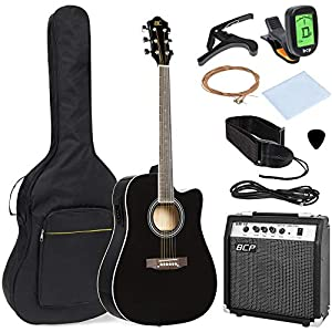Best Choice Products 41in Full Size Acoustic Electric Cutaway Guitar Set w/ 10-Watt Amp, Capo, E-Tuner, Case – Black 5124rylNW7L