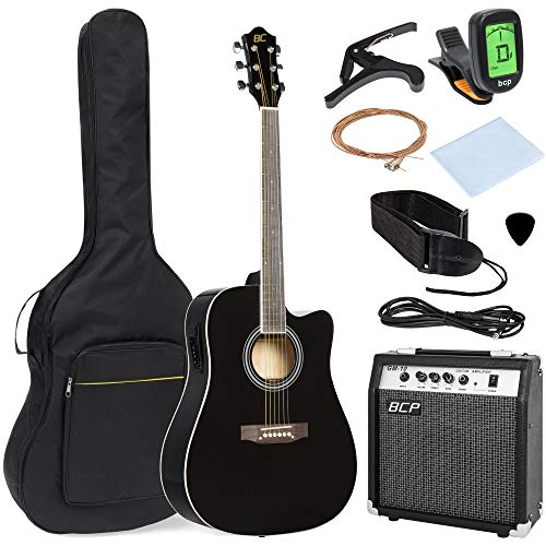 Best Choice Products 41in Full Size All-Wood Acoustic Electric Cutaway Guitar Musical Instrument Set Bundle w/ 10-Watt Amplifier, Capo, E-Tuner, Gig Bag, Strap, Picks, Extra Strings, Cloth - Black