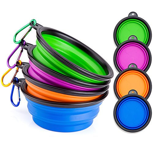 IDEGG Collapsible Silicone Dog Bowl, Food Grade Silicone,BPA Free Foldable Expandable Cup Dish for Pet Raised Dog/Cat Food Water Feeding Raised Travel Camping Bowl (Set of 4,Purple+Green+Blue+Orange)