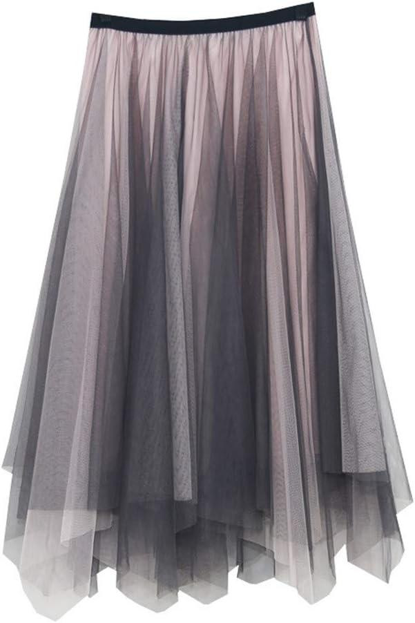 HNTDG Women Lace Embroidered Flower Skirt Big Swing Tulle Pleated Long Maxi Tutu High Waist Net Skirt