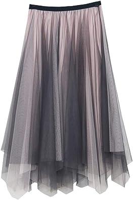 MA87 Falda de tul plisada de cintura alta para mujer y niña, color ...