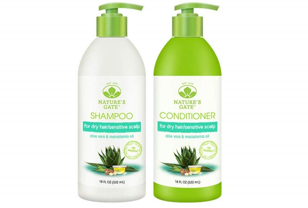 Nature's Gate Nature's gate aloe vera moisturizing for normal to dry hair, duo set shampoo & conditioner, 18 oz each bottle by Nature's Gate