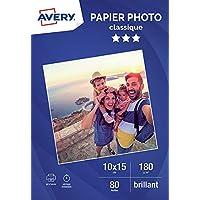Avery 80 Feuilles de Papier Photo 180g/m² 10x15cm - Impression Jet d'Encre - Brillant - Blanc (C2570) 80 Feuilles de Papier Photo 180g/m² 10 x 15mm - Impression Jet d'Encre - Brillant - Blanc (C2570)
