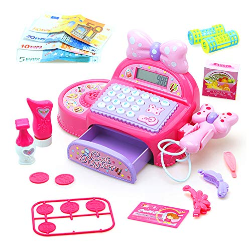 (Erencook Cash Register Toy, Pretend Play Electric Sound Scanning Shopping Mall Cashier and Play Calculator for Kids (Pink))