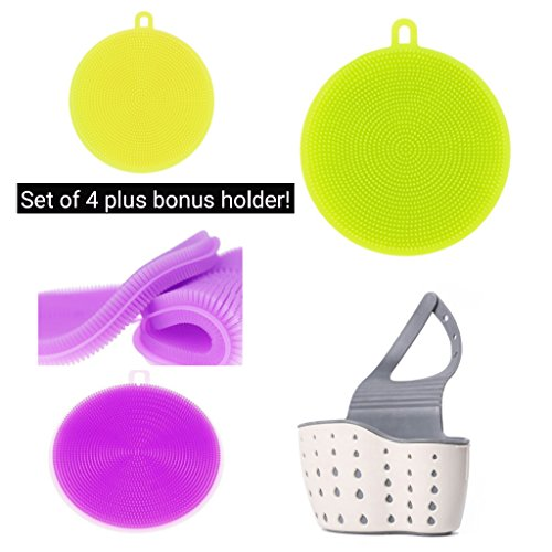 Silicone Jar Mat Opener (Antibacterial Double Sided Silicon Cleaning Brushes with Holder. Use For Kitchen Insulation Mats, Dish Brush, Makeup Brush Cleaner, Jar Opener, Clothes Brush, Shower Brush Fruits/Vegetables Brush)
