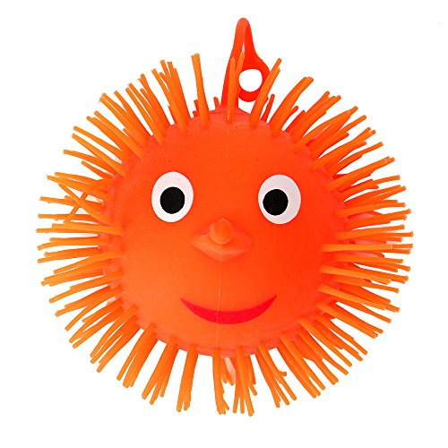 (Elaco Smile Face Hedgehog Pufferfish Ball Flashing Puffer Balls Squeezable Stress Squishy Toy Stress Relief Ball for Fun)